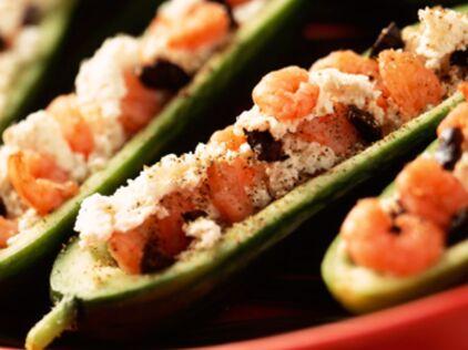 Courgettes farcies aux crevettes